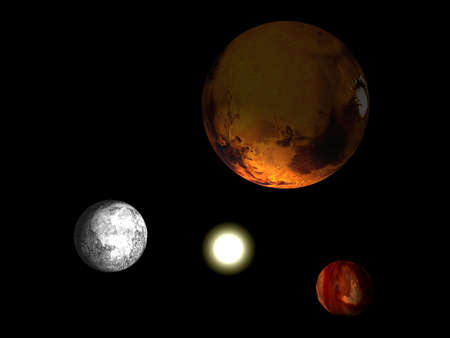 Solar system with three planets and a sun isolated on black photo