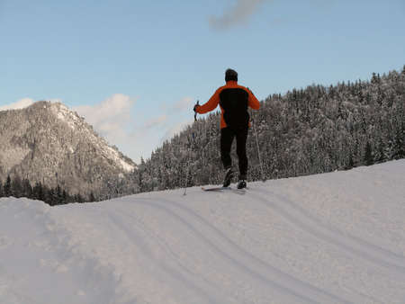Beautiful winter landscape showing a cross-country ski run with a person skiing