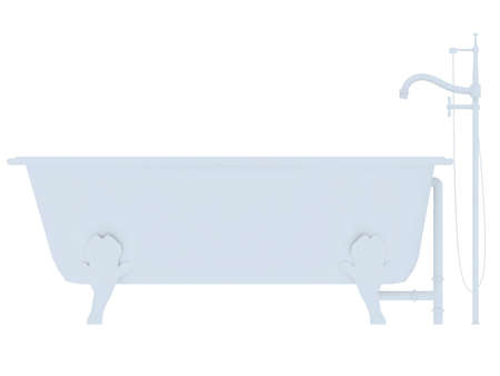 White old fashioned bath tub isolated on a white background