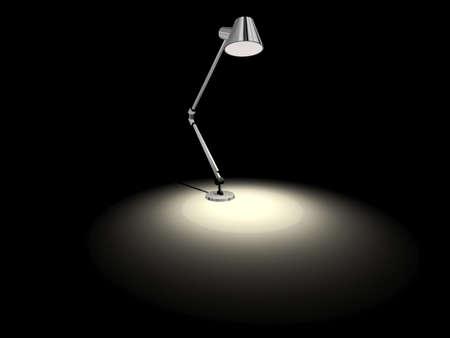 Illustration of a gray studio lamp isolated on black Stock Photo