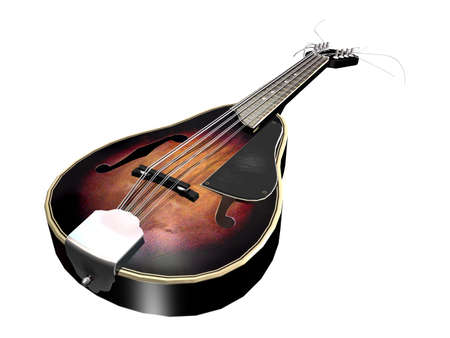 An old brown wooden mandolin isolated on a white background photo
