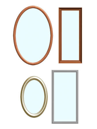 Various picture frames (or mirrors) isolated on a white background. Hi resolution!
