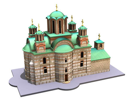 kreml: Illustration of a medieval church isolated on a white background