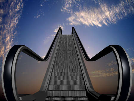 Illustration of a black and gray elevator into heaven