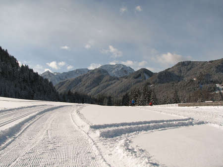 Beautiful winter landscape showing a cross-country ski run photo