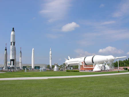 The Rocket Garden at NASA in Florida Stock Photo