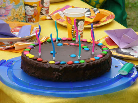 sinful: A birthday cake made out of chocolate Stock Photo