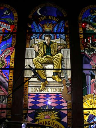 elvis presley: An Elvis Window in a Bar in Beijing