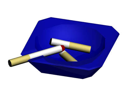 Illustration of a blue ash tray with cigs illustration