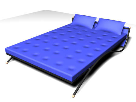 Illustration of a blue modern bed Stock Photo