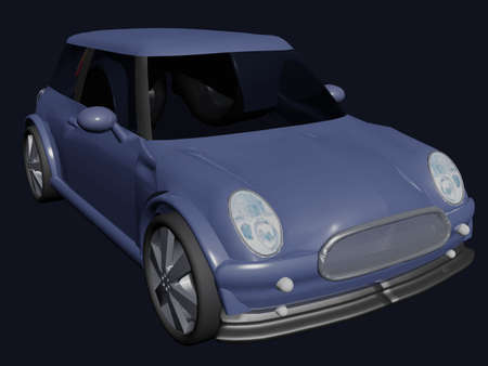 Illustration of a small blue car