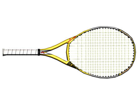 Illustration of a yellow tennis racket Stock Photo