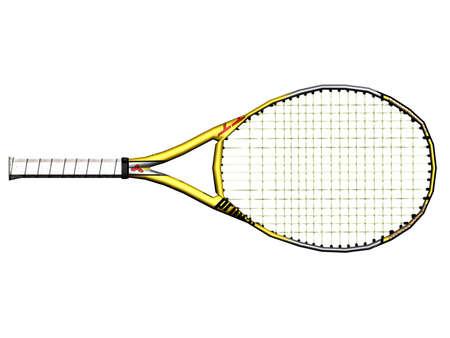Illustration of a yellow tennis racket Standard-Bild