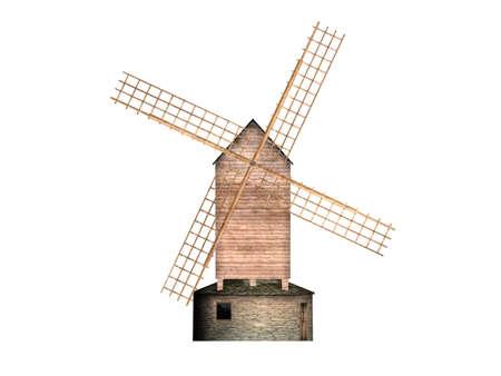 Illustration of a wooden mill illustration