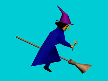 Illustration of an old witch on broom