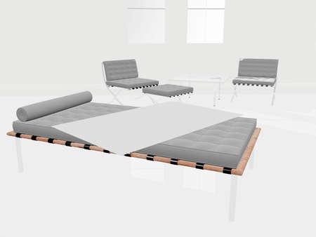 Illustration of a modern bed room illustration