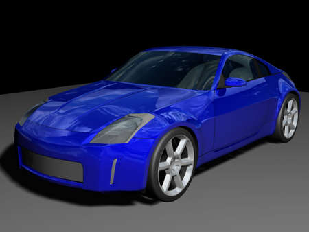 Illustration of a blue sports car Stock Photo