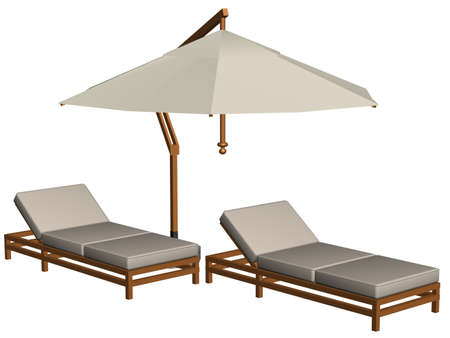 Illustration of white pool furniture Standard-Bild