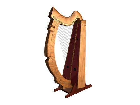 An illustration of an old harp