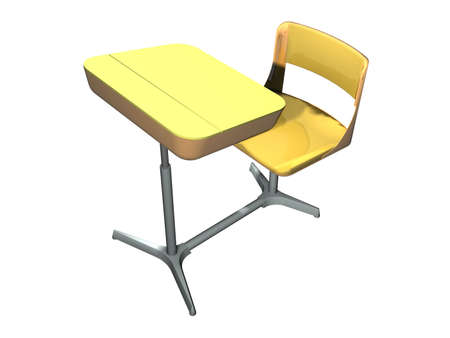 An illustration of a yellow school desk Stock Illustration - 767212