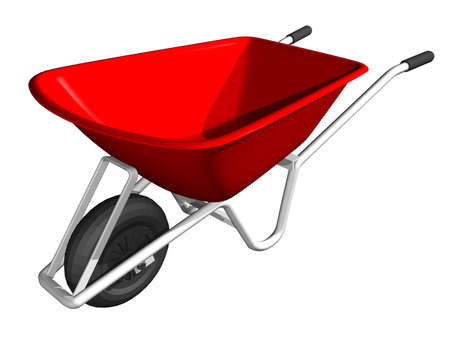 An illustration of a red wheel barrow