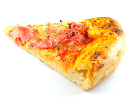A delicious slice of pizza isolated on white