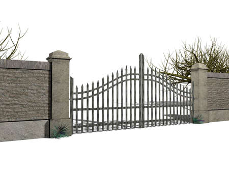 A gate with bushes isolated on white photo