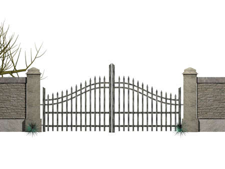 iron gate: A gate with bushes isolated on white