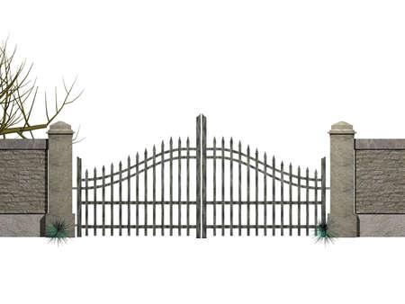 puertas de hierro: Una puerta con arbustos aislados en blanco