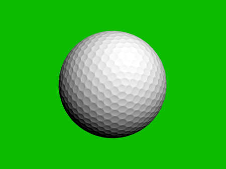 A white golf ball isolated on green