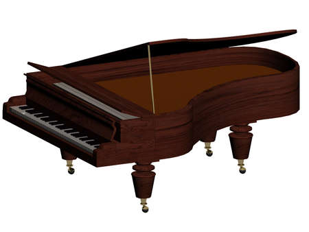 Illustration of a brown piano isolated on white illustration