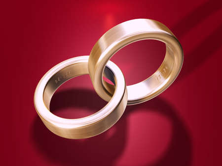 Illustration of two golden wedding rings
