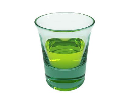 Illustration of a shot of Absinth in a small glass illustration