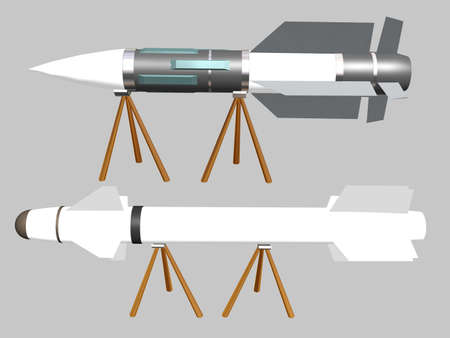 Illustration of two rockets on a stand Stock Illustration - 767364