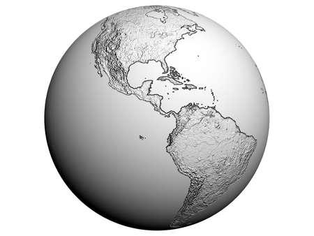3D rendering of America on a white earth globe Standard-Bild
