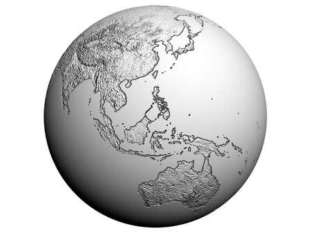 3D rendering of Australia on a white earth globe