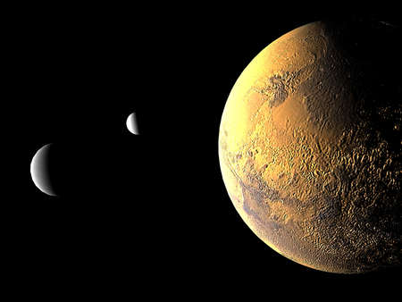3D rendering of mars and its two moons