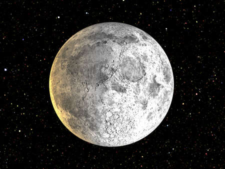 3D rendering of the moon in front of the stars Stock Photo