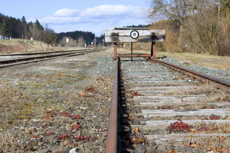 A photo of the end of a railway line (symbolic) Stock Photo