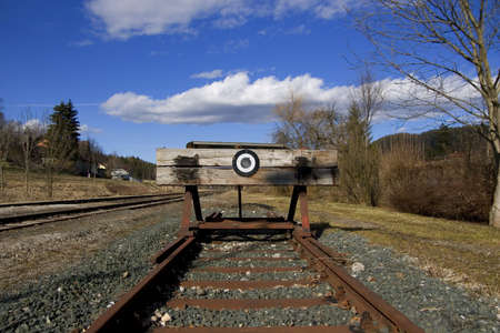 shunt: A photo of the end of a railway line (symbolic) Stock Photo