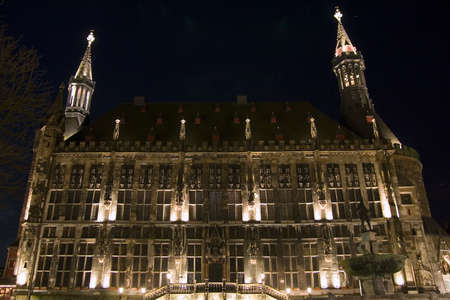 The famous city hall of Aachen (Germany) photographed at night