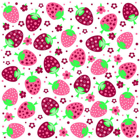 jointless: Seamless textures with ornament of pink strawberries and flowers Illustration