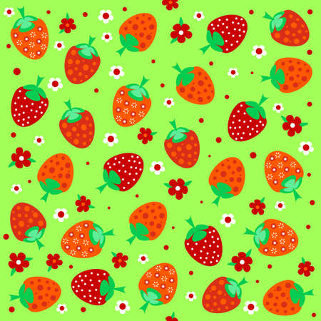 jointless: Seamless textures with ornament of red strawberries and flowers Illustration