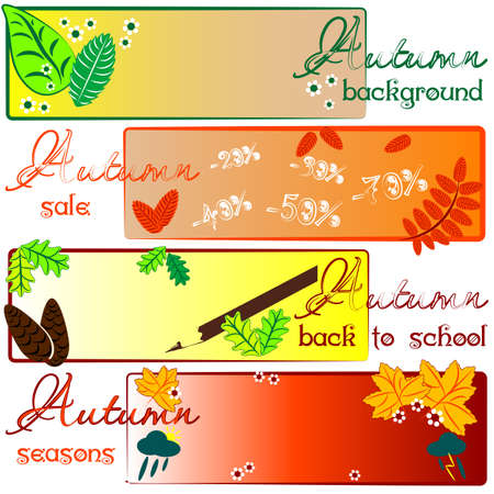 Autumn colored labels with fields for text Vector