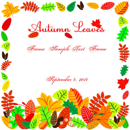 Autumn leaves in shape of frame with field for text Vector
