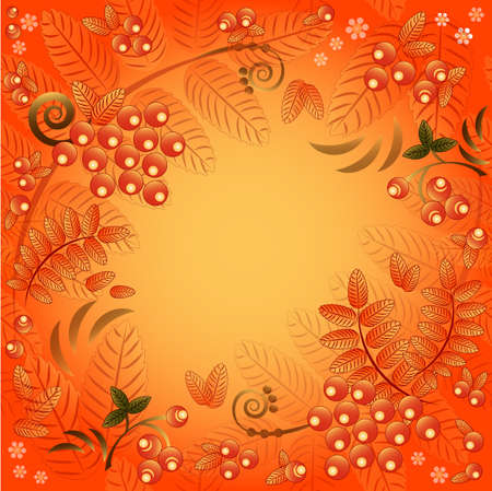 Autumn seamless background with ornament from leaves and berries of mountain ash and field for text Vector