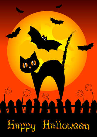 Festive illustration on theme of Halloween. Wishes for Happy Halloween. Trick or treat Vector