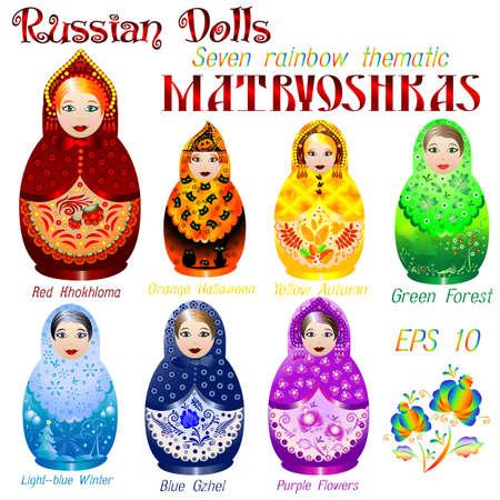 matryoshkas: Russian dolls. Seven rainbow thematic Matryoshkas. Red Hohloma, orange Halloween, yellow Autumn, green Forest, light-blue Winter, blue Gzhel, purple Flowers