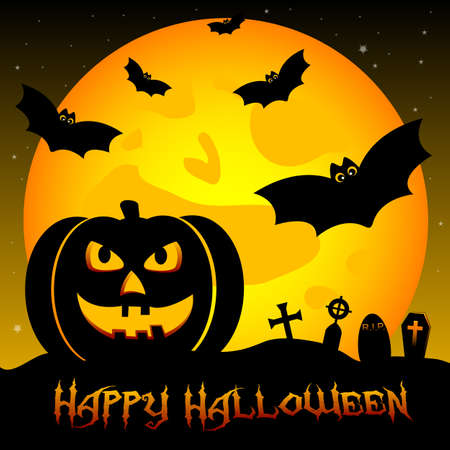 Holiday illustration on theme of Halloween. Wishes for Happy Halloween. Trick or treat Vector