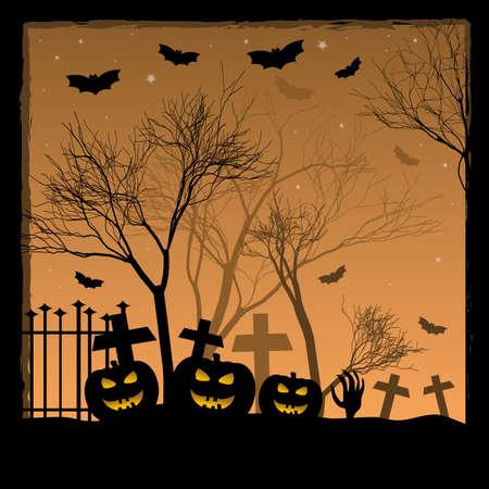 Holiday illustration on theme of Halloween.  Vector